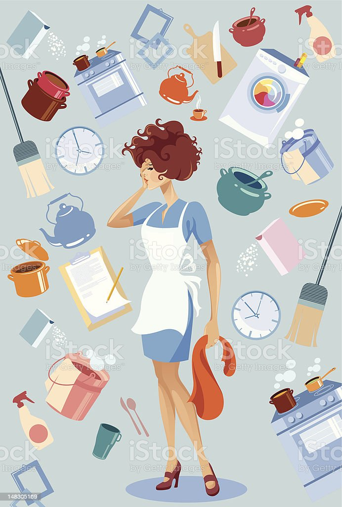 Woman among domestic stuff. vector art illustration