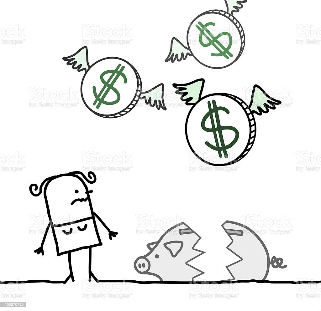 woman & broken piggy bank royalty-free stock vector art