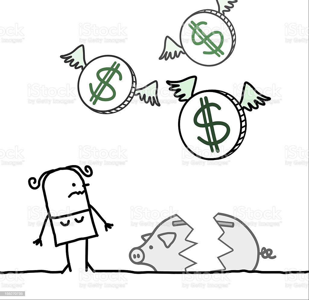 woman & broken piggy bank vector art illustration