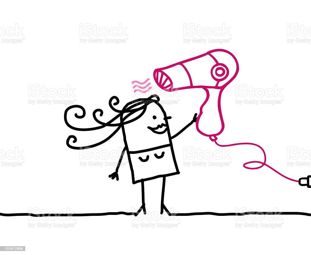 woman & hair dryer vector art illustration