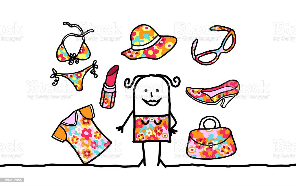 woman &  patterned accessories collection stock photo