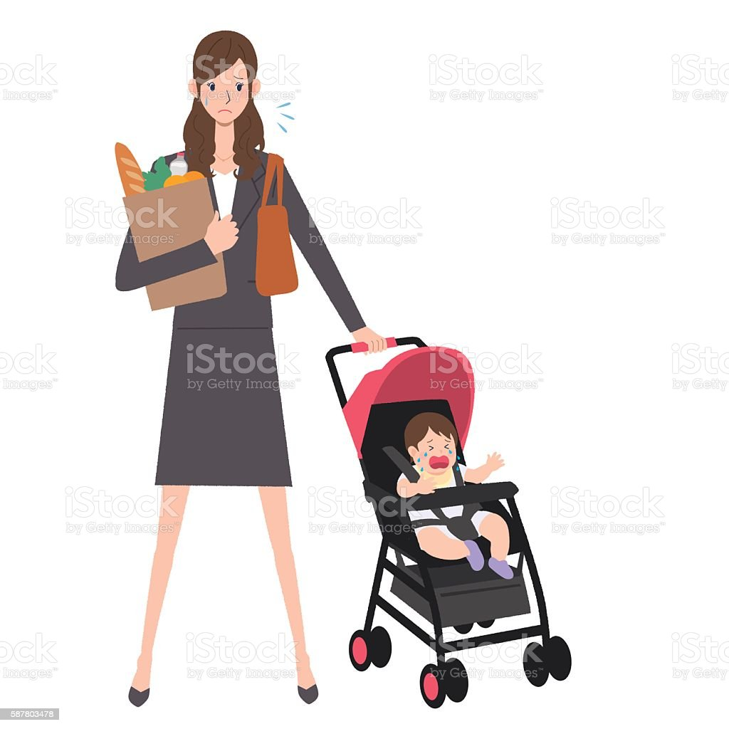 Woman and baby to work vector art illustration