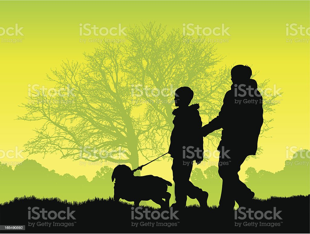 Woman and boy walking a dog by woods vector art illustration