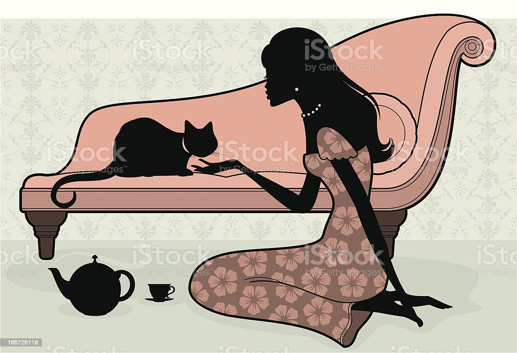 Woman and Cat royalty-free stock vector art
