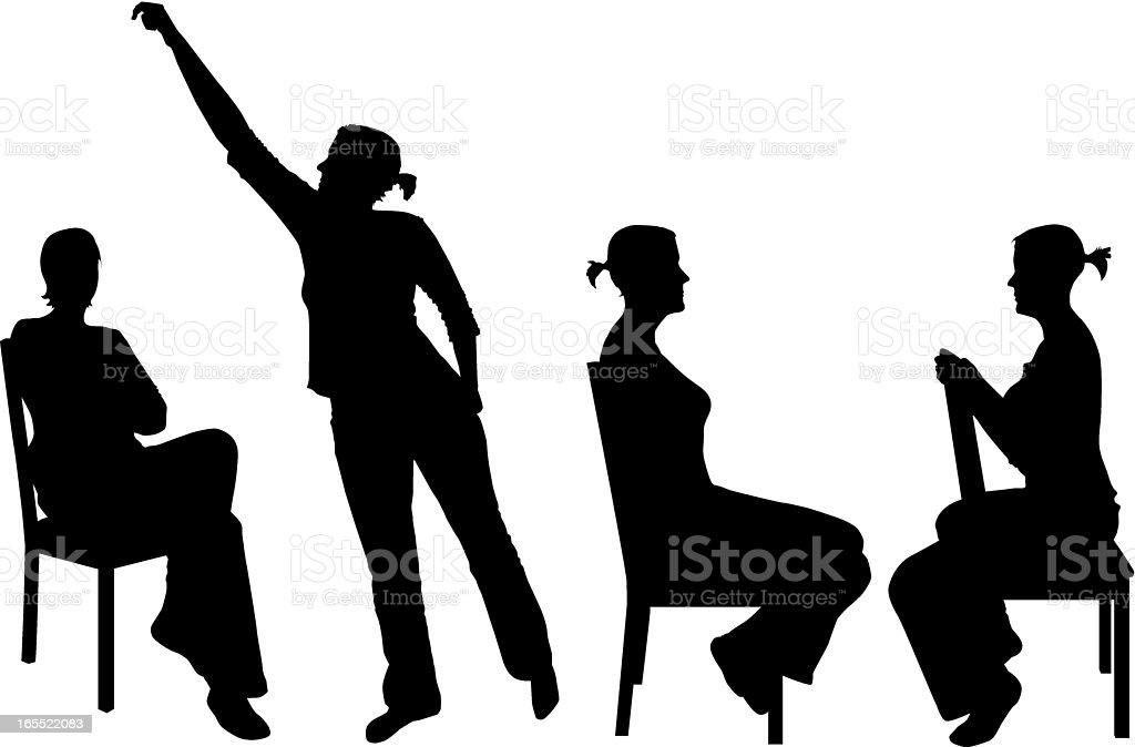 woman and chair vector art illustration