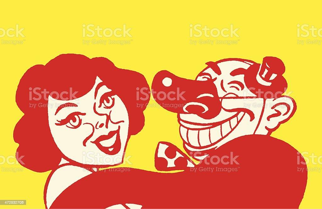 Woman and Clown vector art illustration
