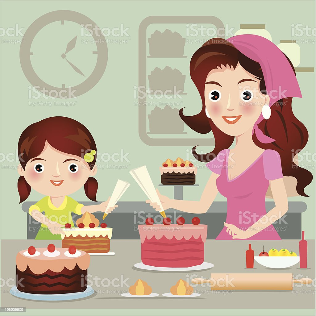 Woman and daughter cooking cake royalty-free stock vector art