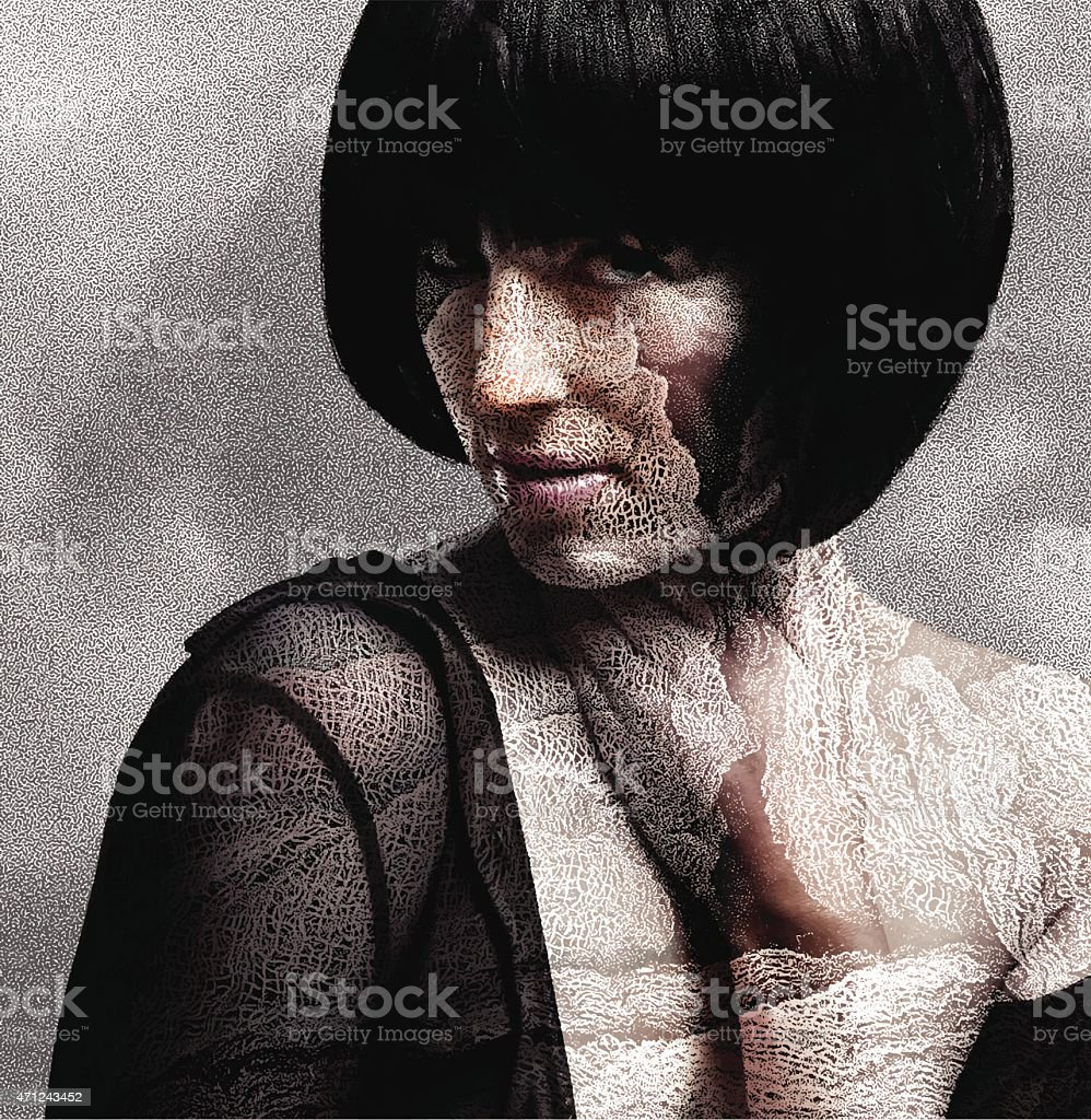 Woman and Dry Skin vector art illustration