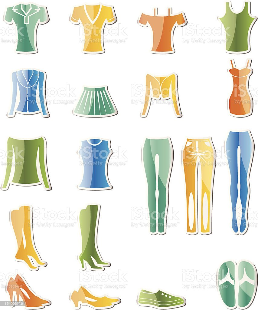 woman and female clothes icons royalty-free stock vector art