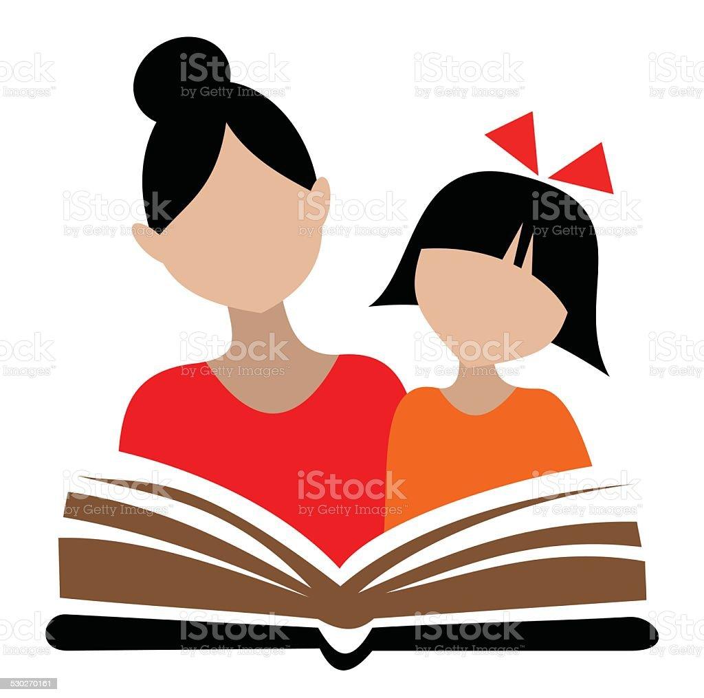 woman and girl vector art illustration
