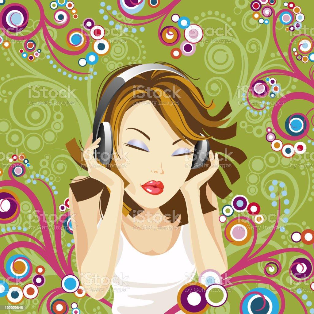Woman and Headphones vector art illustration