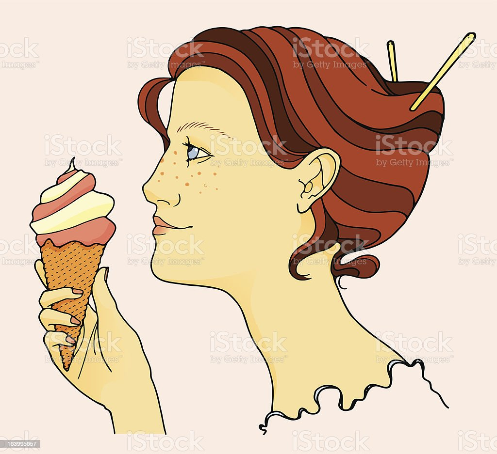 Woman and Ice Cream royalty-free stock vector art