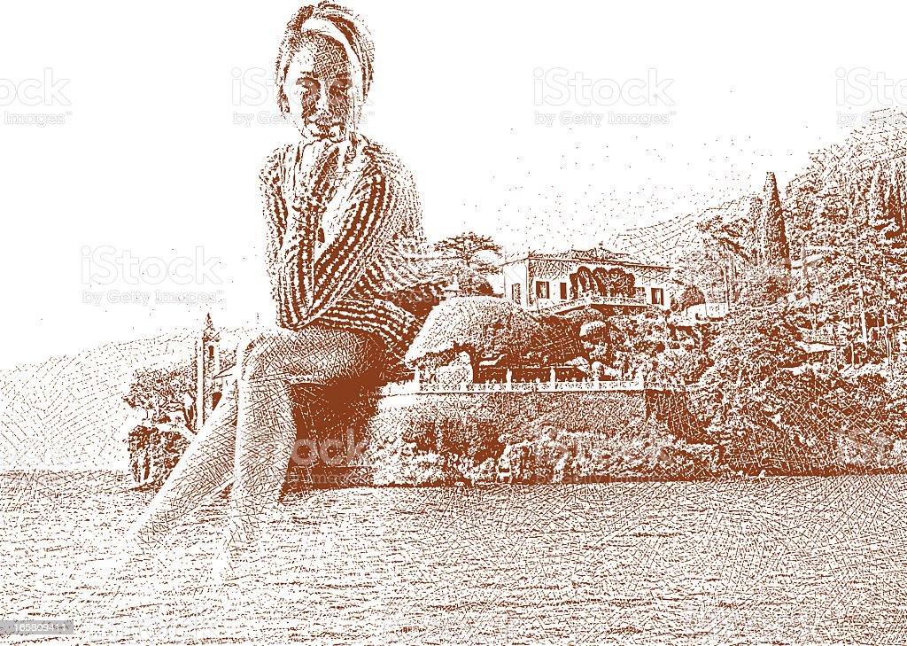Woman and Italian Villa vector art illustration