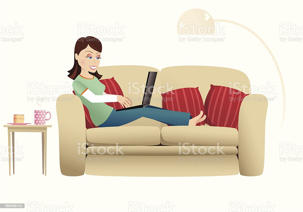 Woman and laptop on sofa royalty-free stock vector art