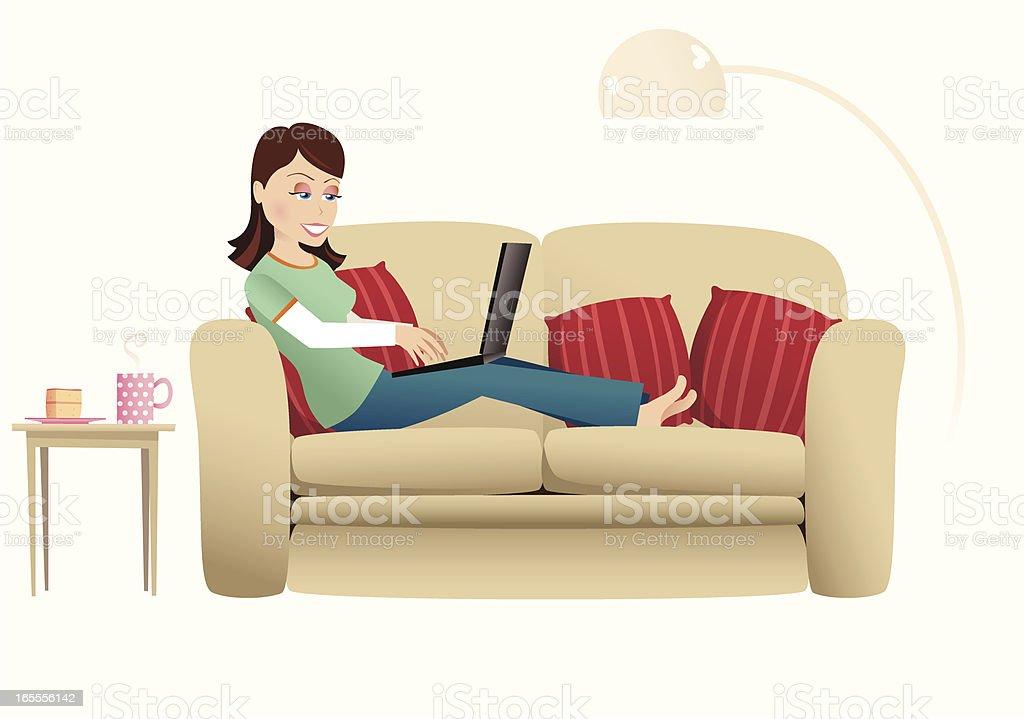 Woman and laptop on sofa vector art illustration