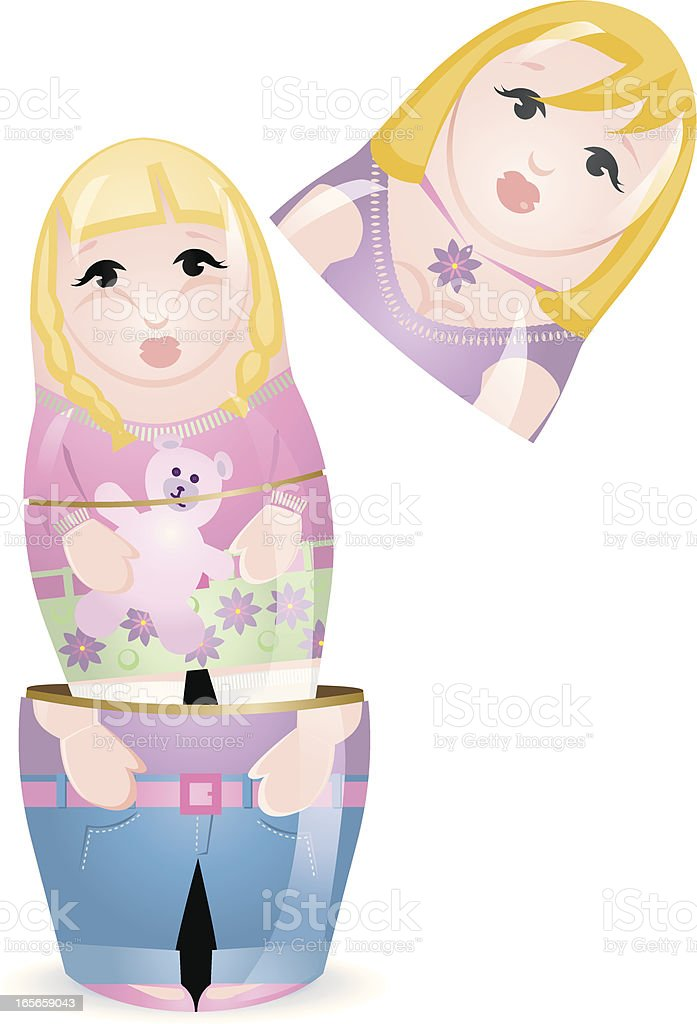 Woman and little Girl Russian Doll royalty-free stock vector art