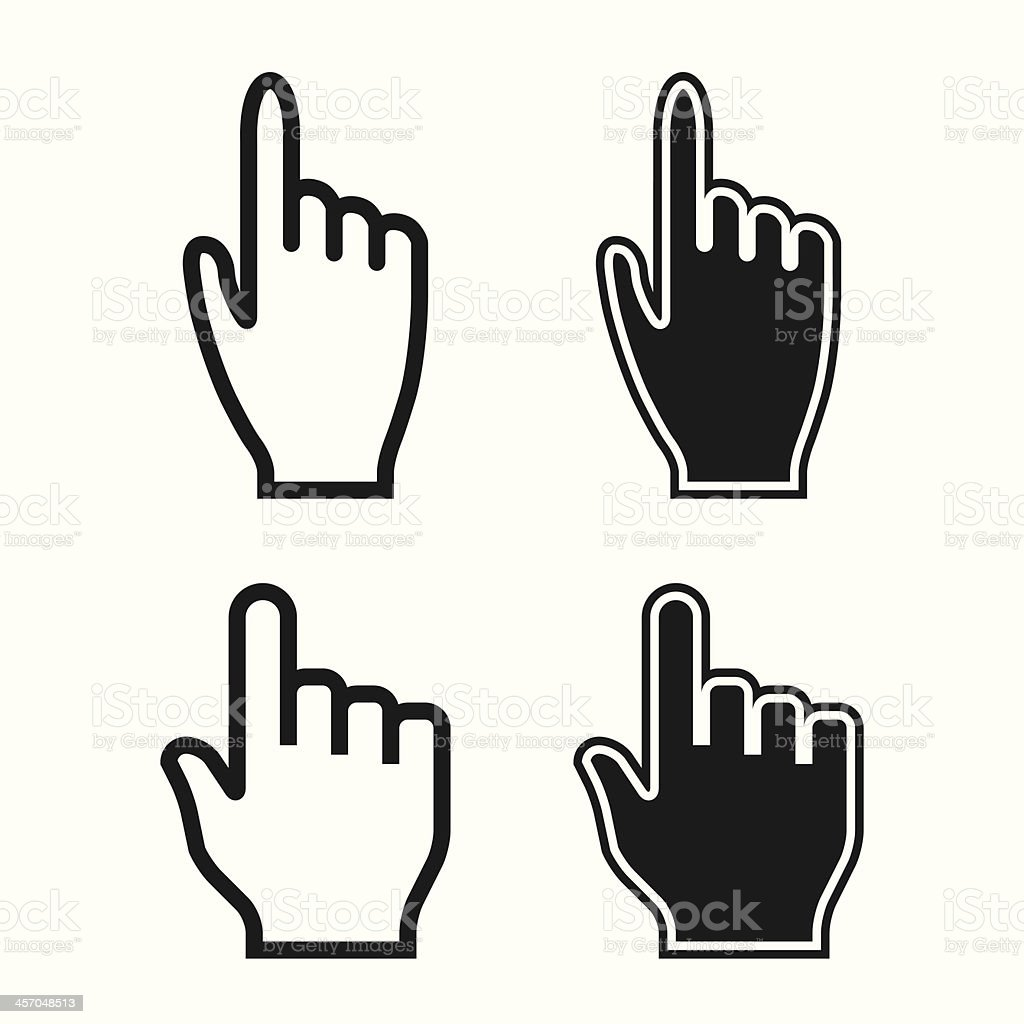 Woman and Man Hands. Cursor Icons. Mouse Pointer Set. Vector vector art illustration