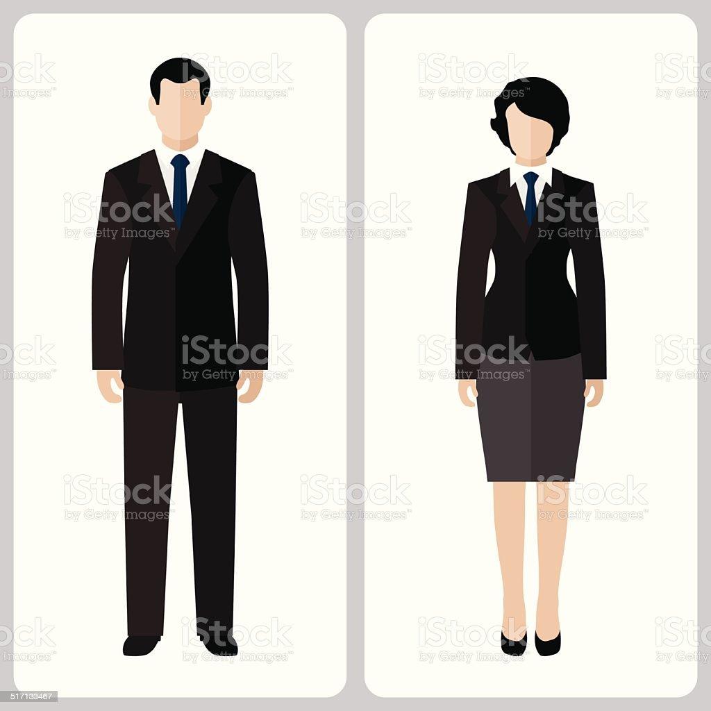 Woman and man vector art illustration