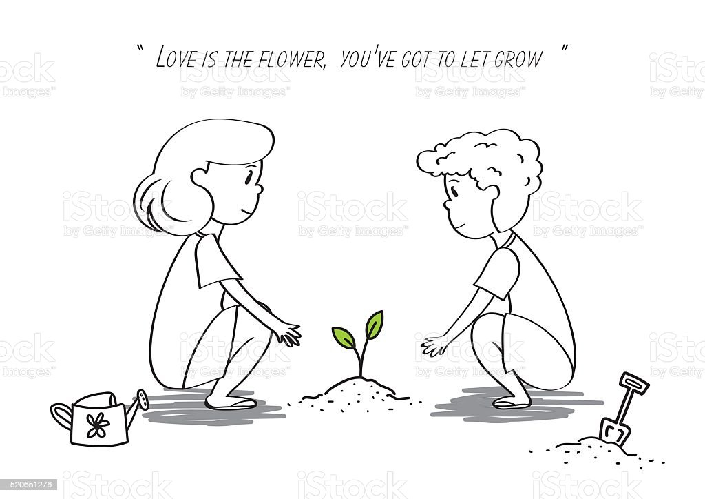 woman and men lovely to plant tree growth together vector art illustration
