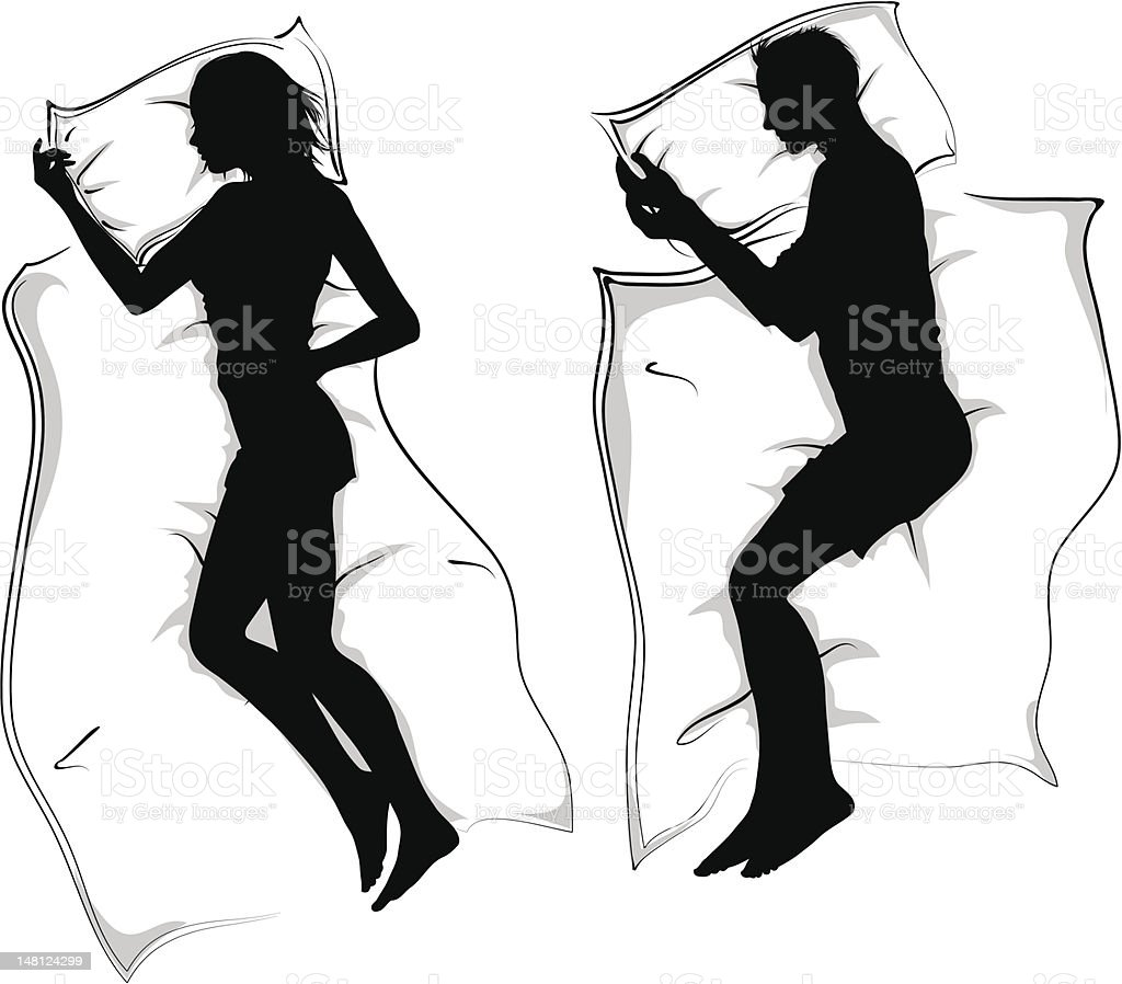 woman and men silhouettes lying in bed sleeping vector art illustration