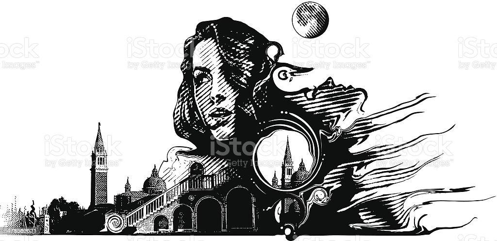Woman and Surrealistic Landscape vector art illustration