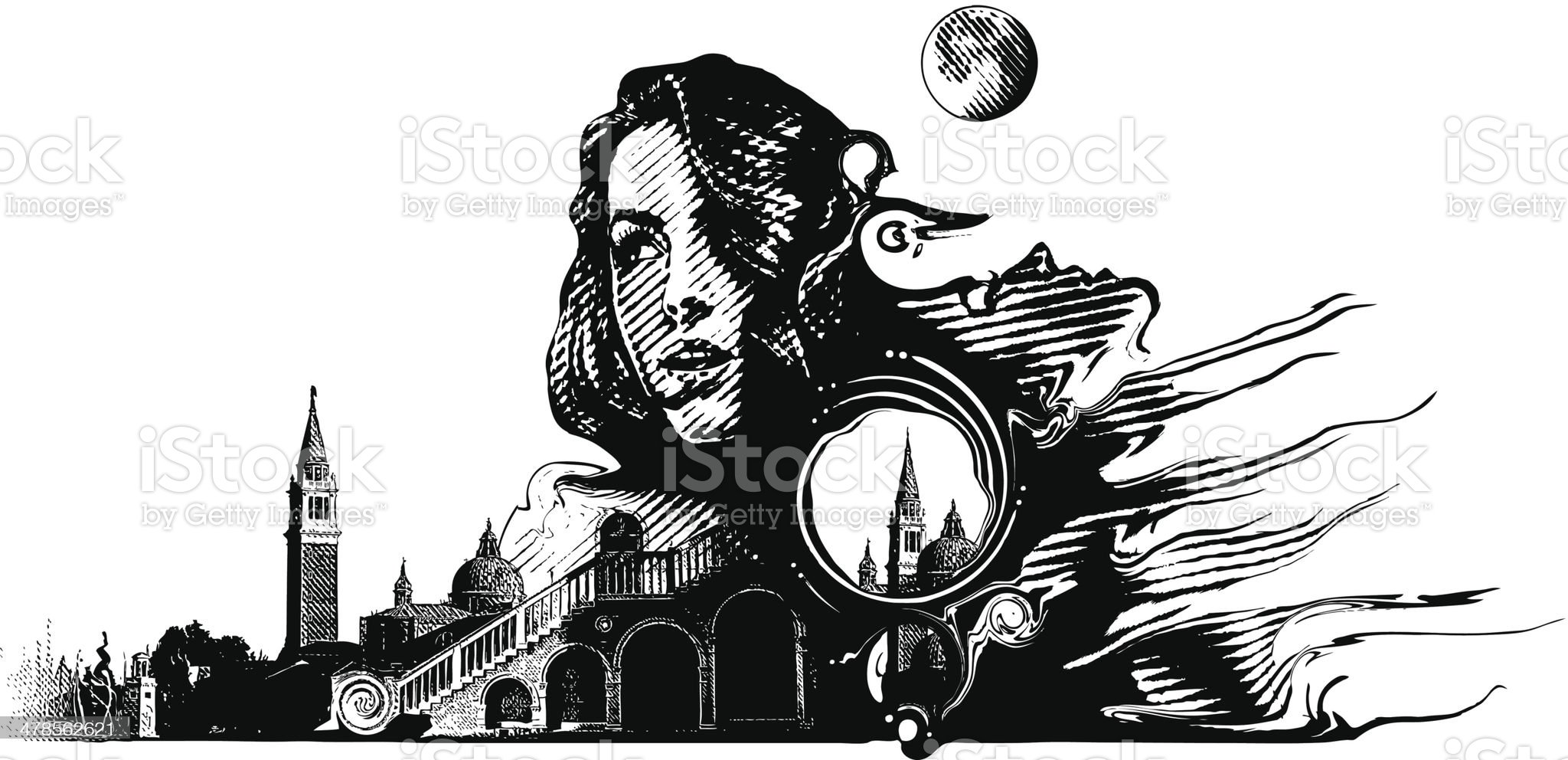 Woman and Surrealistic Landscape royalty-free stock vector art