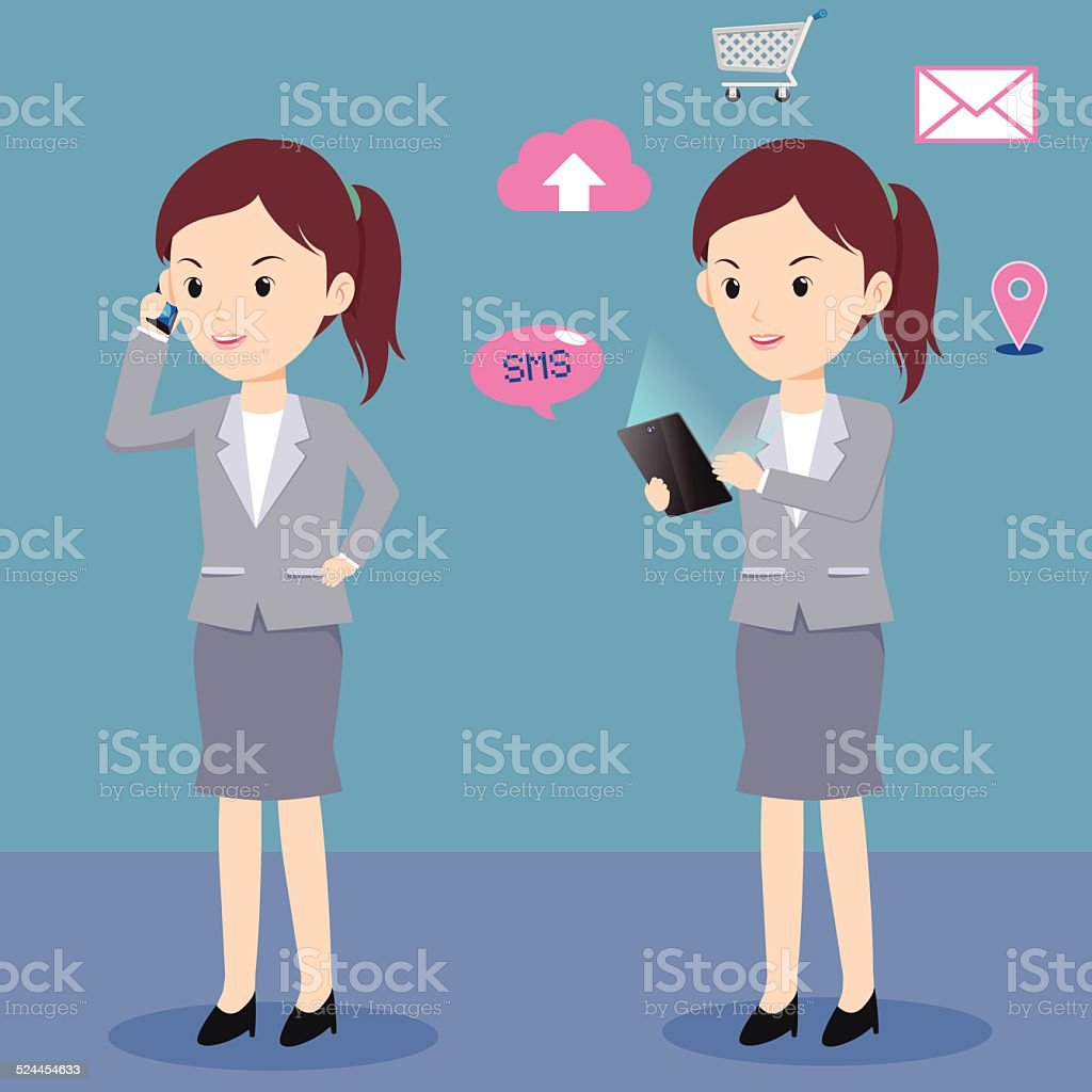 woman and telephone vector art illustration