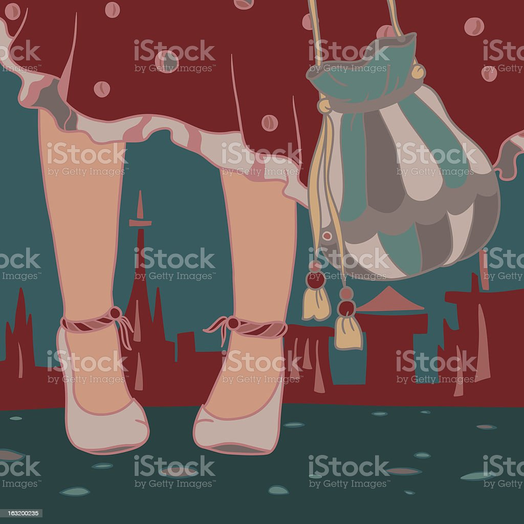 Woman and the city royalty-free stock vector art