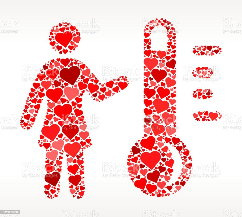 Woman and Thermometer Red Hearts Love Pattern vector art illustration