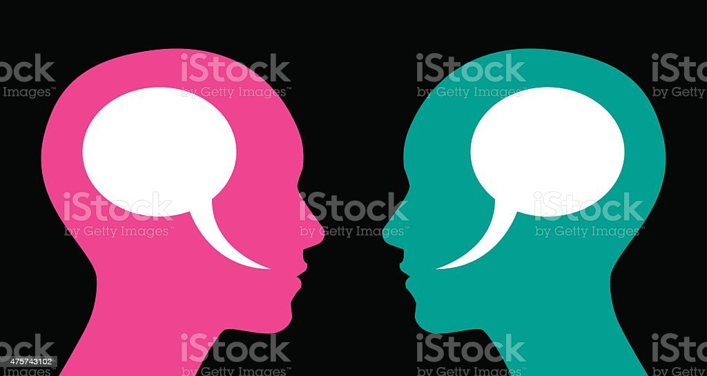 Woman and Woman Speech Bubbles vector art illustration