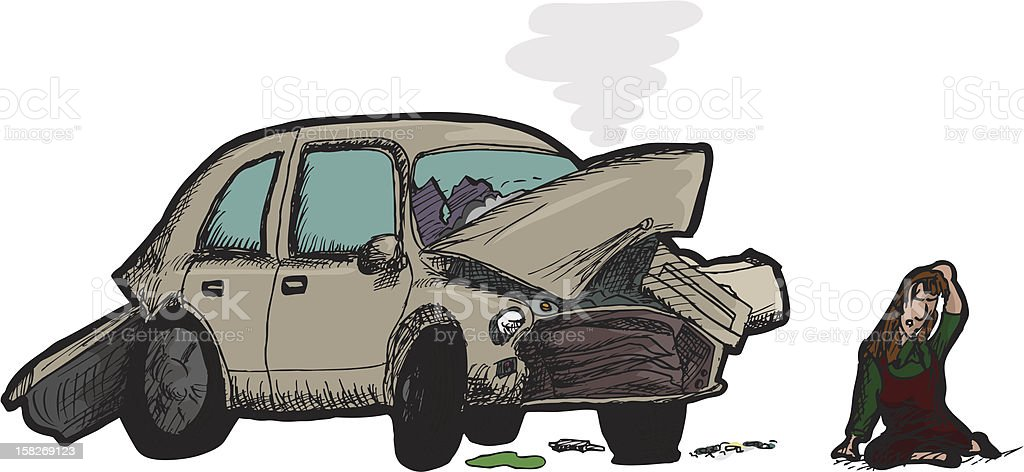 Woman and Wrecked Car royalty-free stock vector art