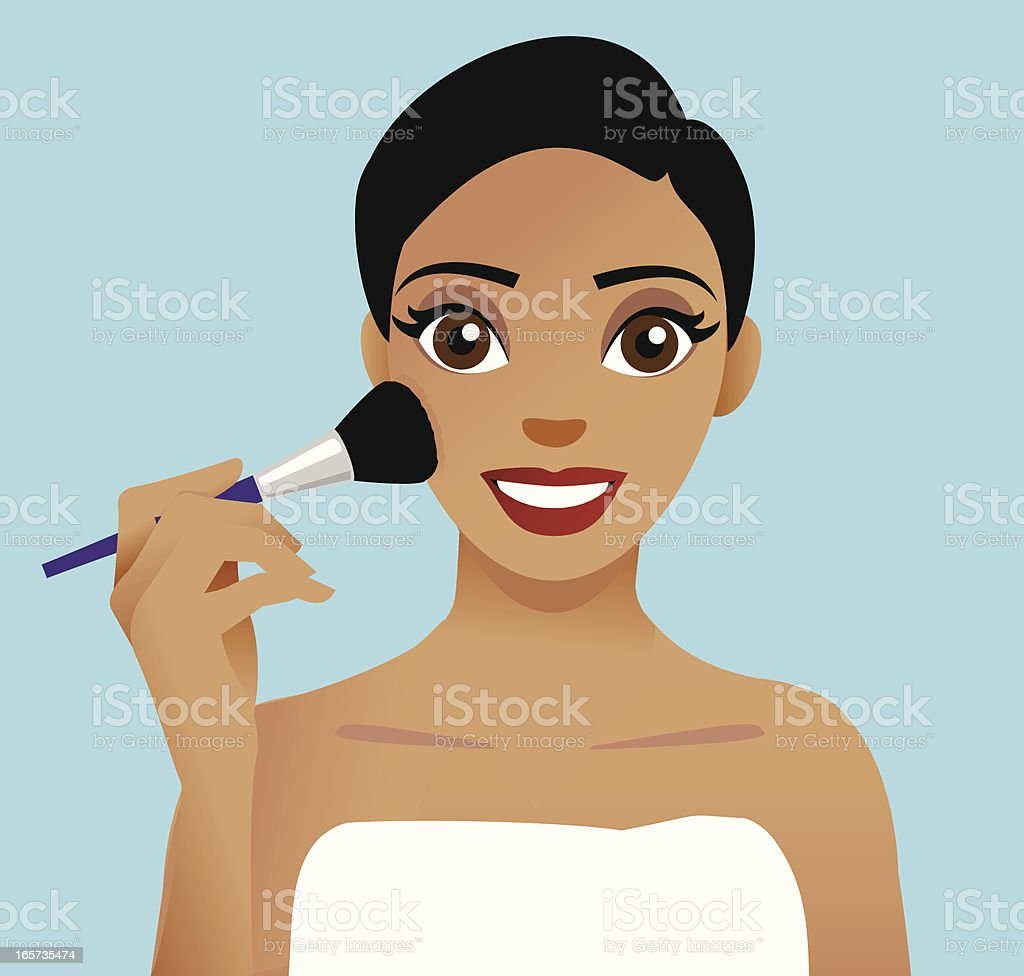 Woman applying cosmetics with a blusher brush vector art illustration