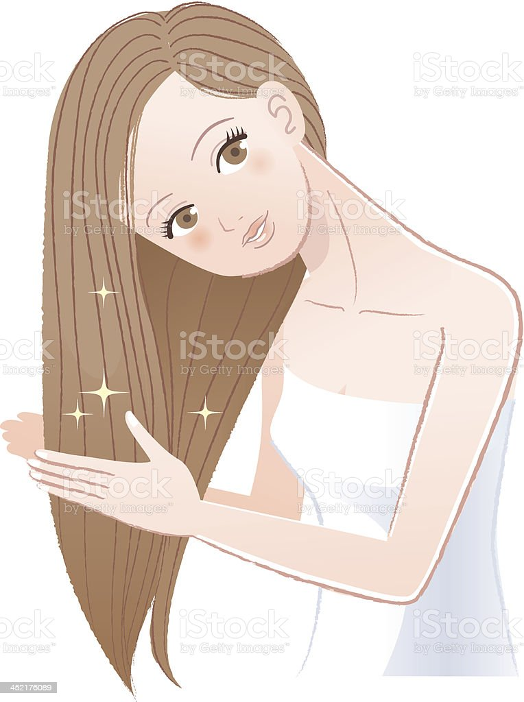 Woman applying oil to her long hair royalty-free stock vector art