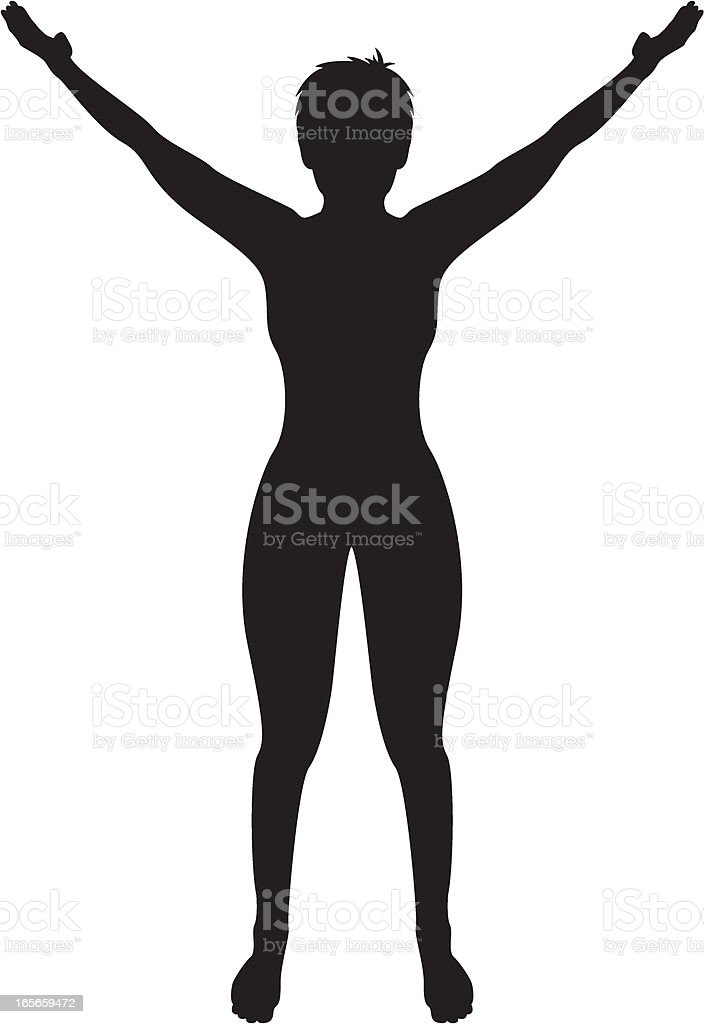 Woman Arms Raised in Silhouette royalty-free stock vector art