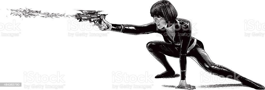 Woman Astronaut Warrior Shooting Ray Gun vector art illustration