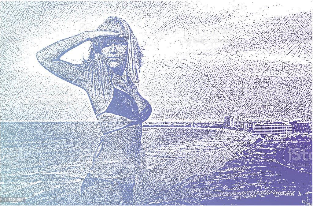Woman At Beach, Searching vector art illustration