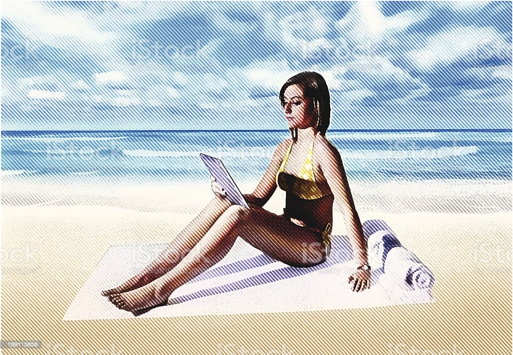 Woman At Beach With Digtal Tablet vector art illustration