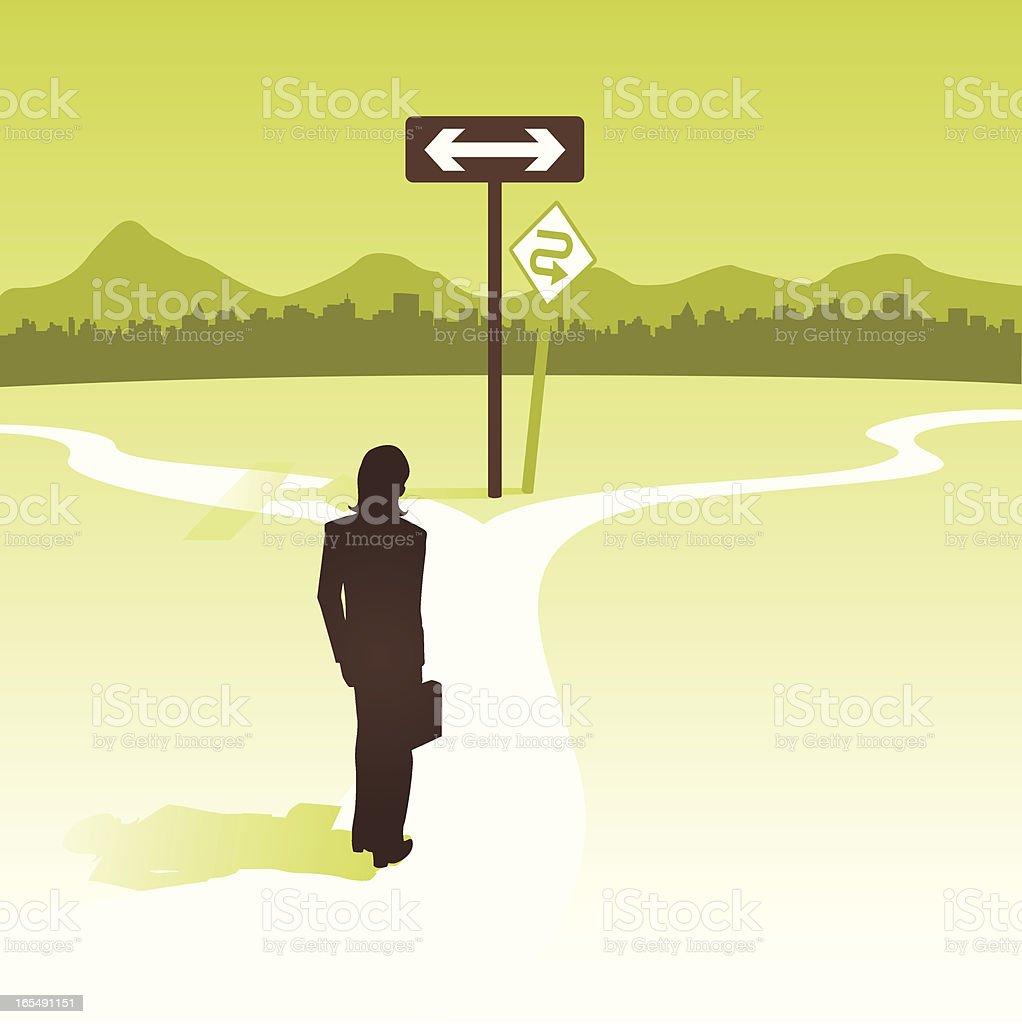 Woman at crossroads, deciding on her career path vector art illustration