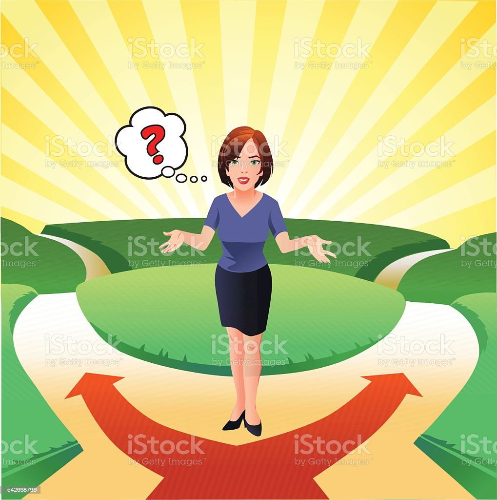 Woman at the Crossroads Trying to Decide vector art illustration