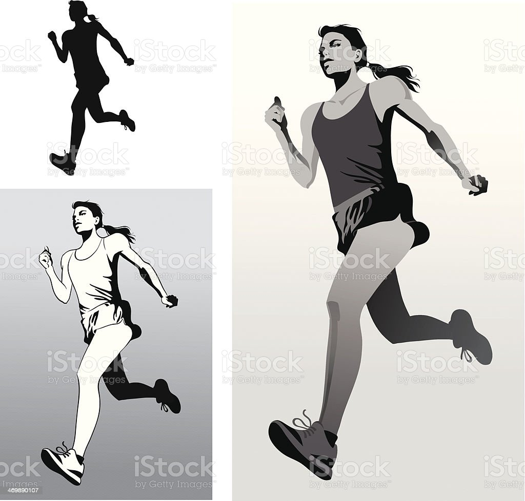 Woman Athlete Running in Black and White vector art illustration
