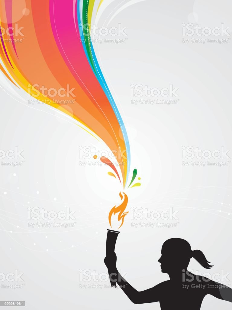 Woman athlete with torch vector art illustration