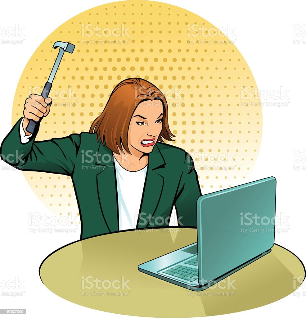 Woman Attacking Computer With Hammer vector art illustration