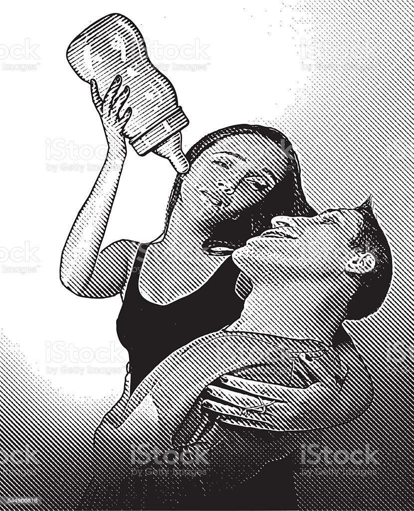 Woman Babying Her Man vector art illustration