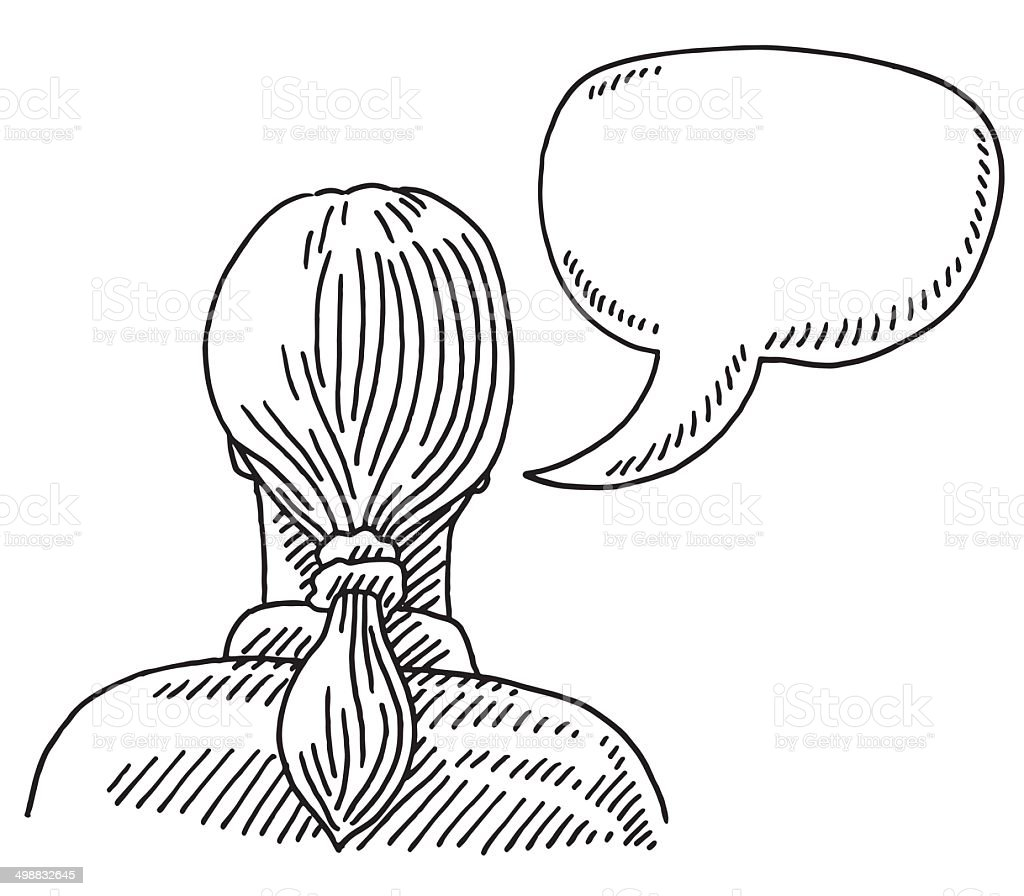 Woman Back View Speech Bubble Drawing vector art illustration