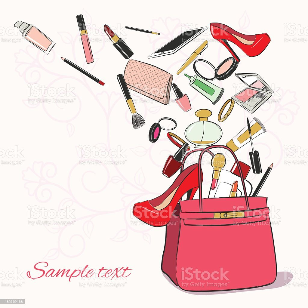 Woman bag with cosmetics vector art illustration