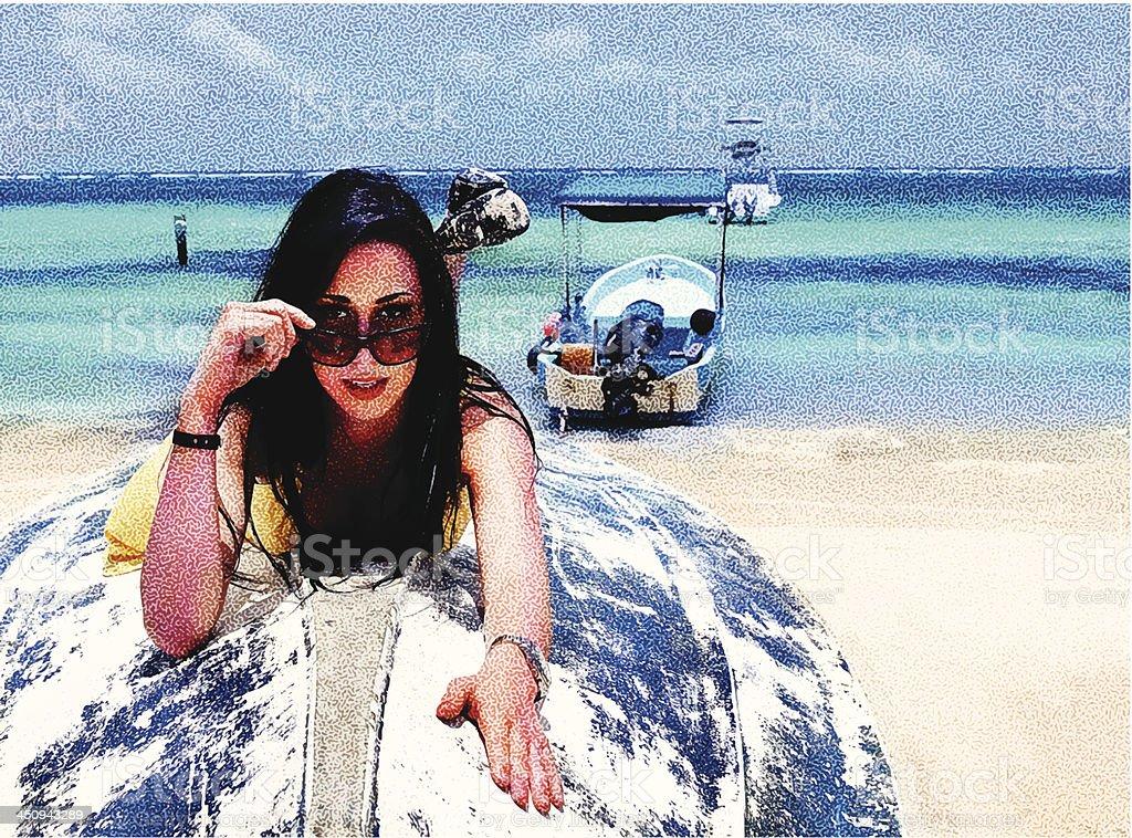 Woman, Beach and Boats vector art illustration