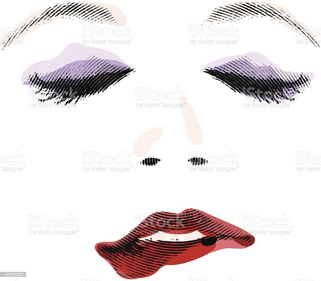Woman Biting Lip vector art illustration