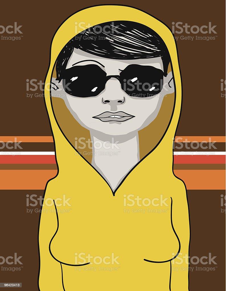 Woman biting lip wearing a hood and sunglasses... royalty-free stock vector art
