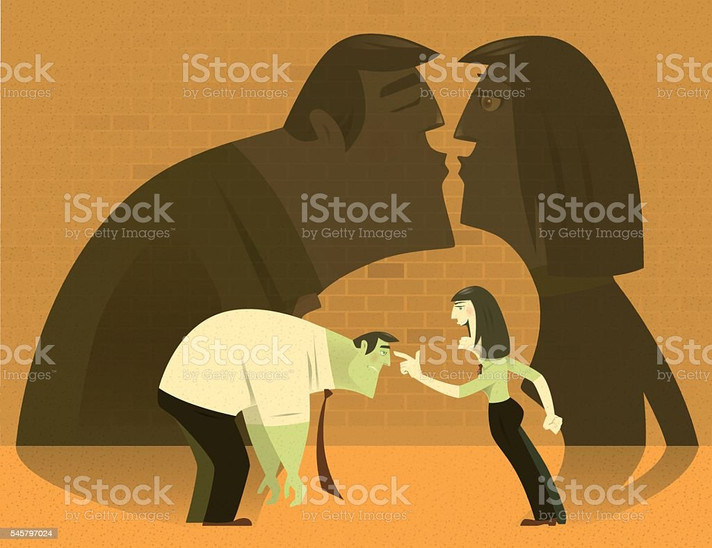 woman blaming businessman vector art illustration