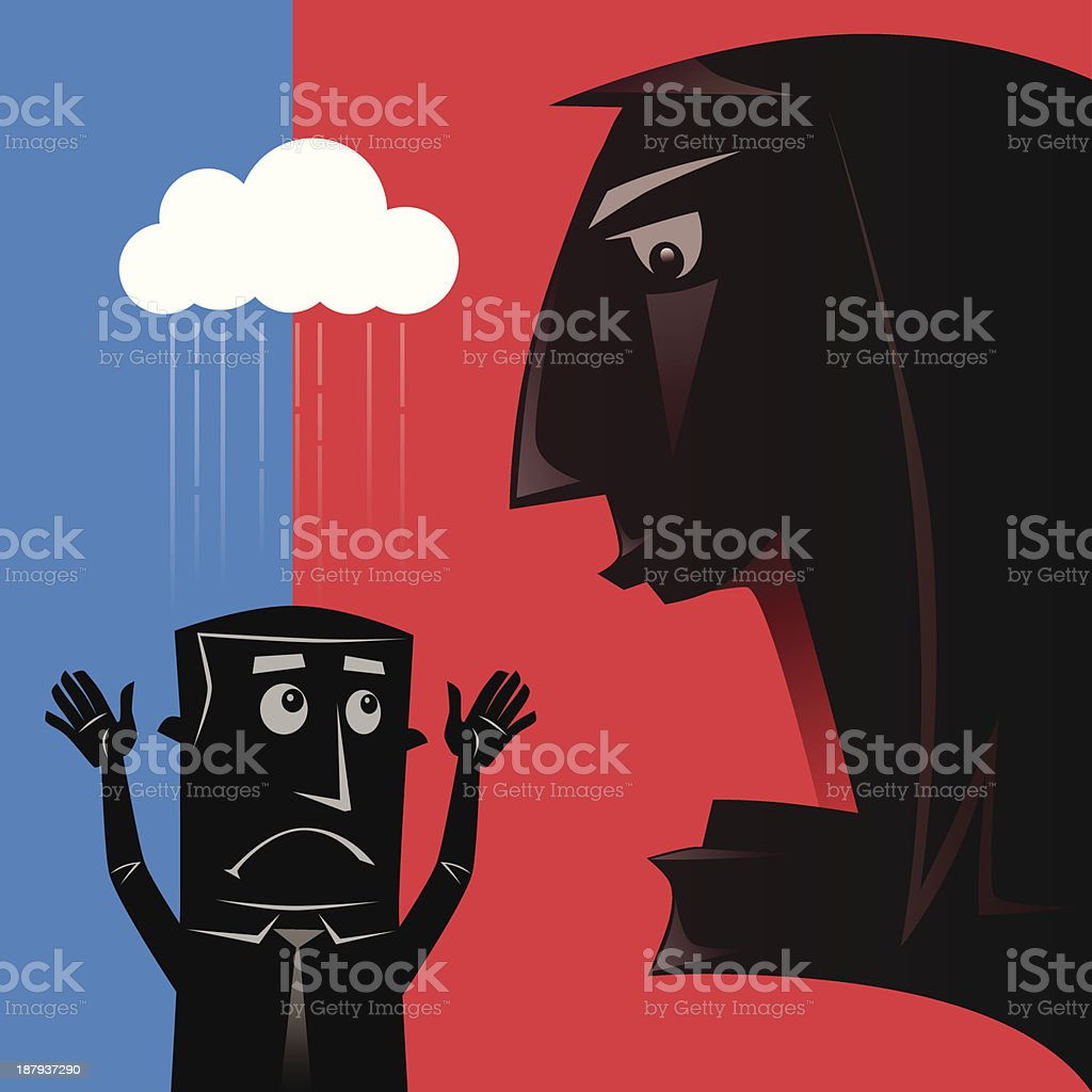 woman blaming man royalty-free stock vector art